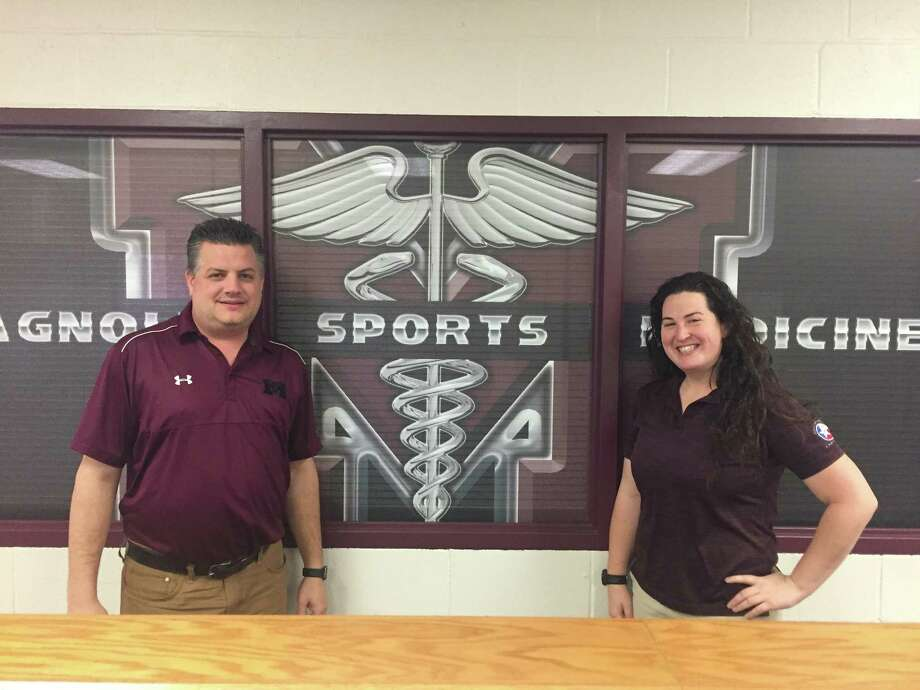 Magnolia High School athletic trainers Mike Overman and Danielle Keyes are dedicated to providing top-notch care for their student-athletes.