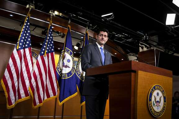 U.S. House Speaker Paul Ryan, a Republican from Wisconsin, pauses while speaking during a press conference on Capitol Hill in Washington, D.C., U.S., on Wednesday, April 11, 2018. Ryan's surprise announcement that he won't seek re-election clears the way for his deputies --�Kevin McCarthy�of California and�Steve Scalise�of Louisiana -- to vie for the top GOP position ahead of a November election that may upend control of the chamber. Photographer: Al Drago/Bloomberg
