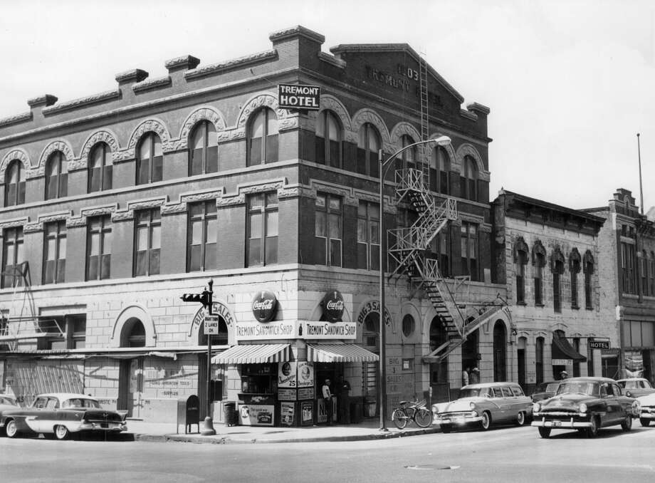 The Tremont Hotel as it appeared on May 26, 1956. At the time this photo was taken, it was considered the oldest hotel in operation in Houston's history. Opened in 1903, the 50-room hotel was located at the northwest corner of Milam and Congress. The building was opened by Otto Sens Sr. Meals and rooms were $1.50 a day. No private bathrooms and only four rooms had closets. The first fan wasn't even installed until 1948. The Hogg family bought a lease on the site from Sens' heirs and gifted it over to the University of Texas sometime in the 1950s. The hotel was torn down in 1956. In the 1970s, Look's Depot was on this block. Today, a Chase Motor Bank occupies the site. Photo: Chronicle File