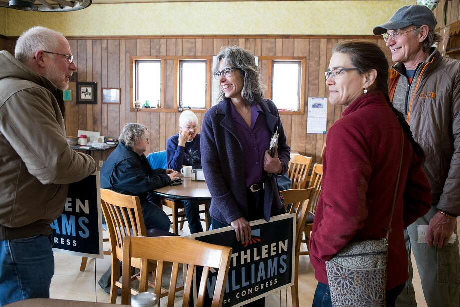 Montana Democrat Kathleen Williams (center), a candidate for Congress, has made prevention of gun massacres central to her platform. Photo: Kristina Barker / New York Times