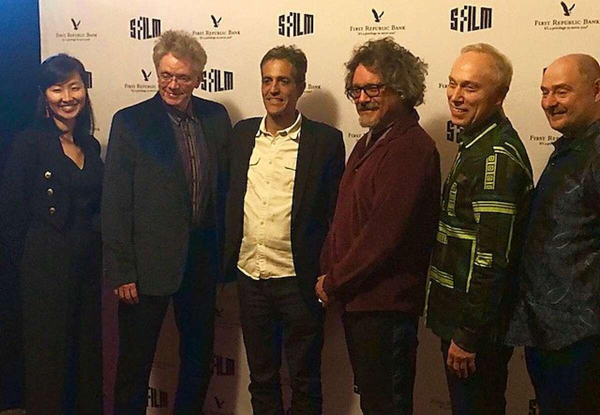 At Castro theatre, Kronos' Sunny Yang and David Harrington, filmmakers Sam Green and Joe Bini, and Kronos' Hank Dutt and John Sherba