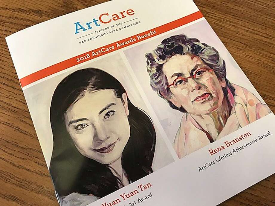 A program for the ArtCare event, honoring Yuan Yuan Tan and Rena Bransten, with portraits by Hung Liu. Photo: Leah Garchik / The Chronicle