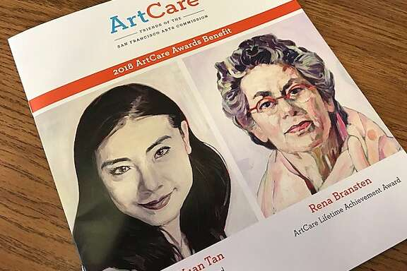 Program for ArtCare event, honoring Yuan Yuan Tan and Rena Bransten, portraits by Hung Liu