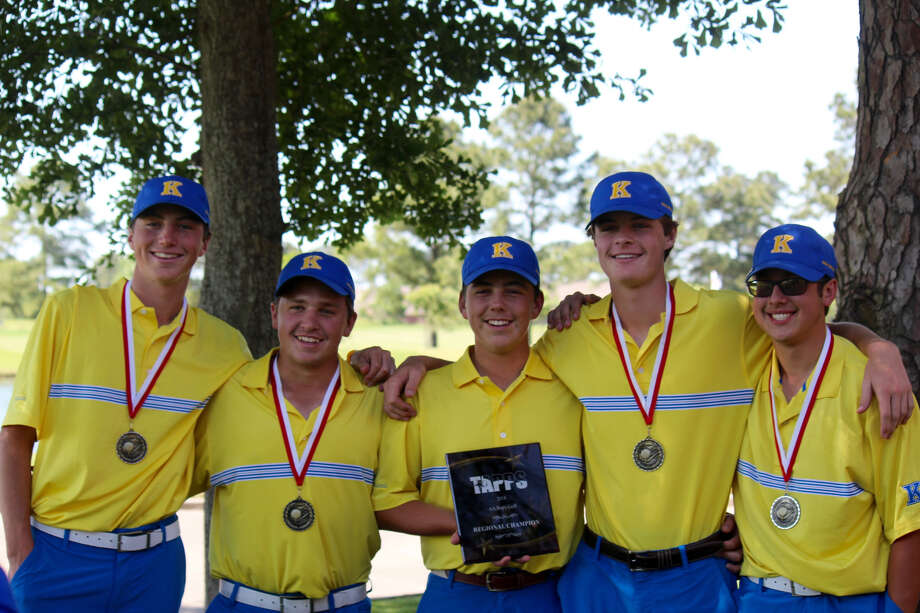 Kelly golfers Jonathan Miller, Tyler Gonzalez, Patrick Miller, Chris Phelan and Colin Todora (left to right) pose for a picture at Gleannloch Pines in Tomball on Tuesday after qualifying for the state tournament. (Photo provided by Kelly Catholic.)