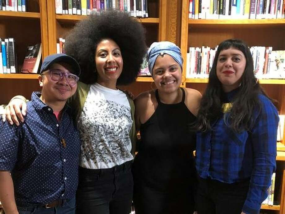 "Participants of the first 2018 'Show Us Your Spines' storytelling event talks to an audience at the San Francisco Main Library. The second event happens April 12."" Photo: Juliana Delgado Lopera"