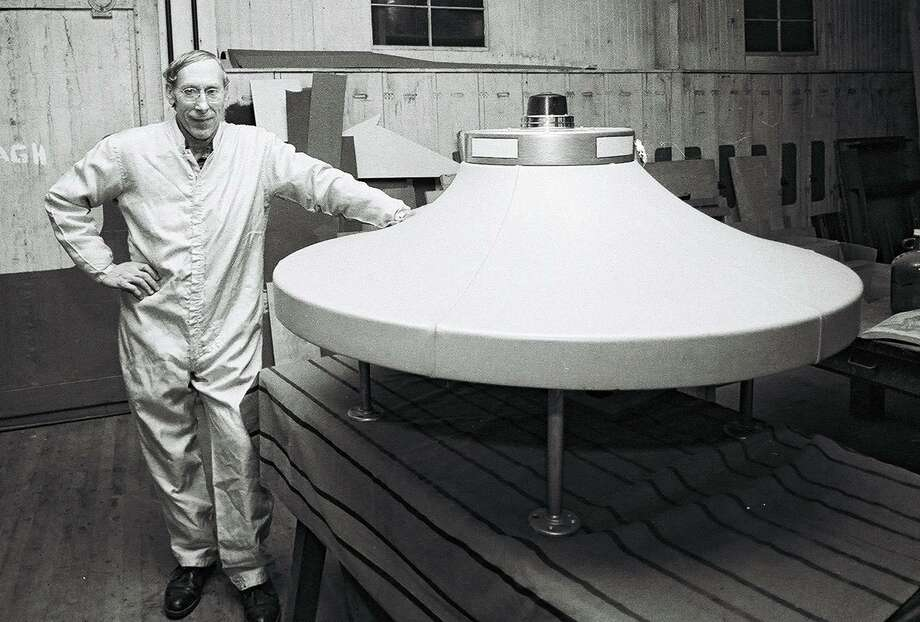 Dante Vaghi, in this 1982 News-Times file photo, stands by a spaceship that he created. Photo: File Photo / David W. Harple / The News-Times File Photo