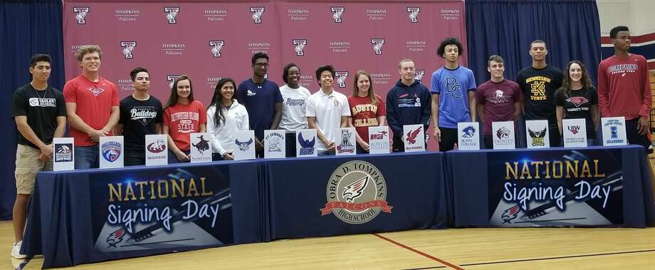 Tompkins high school students made their commitments to continue their college careers. Pictured, from left to right are: Zach Visser-Baseball; Southwestern Christian University;  Wilson Ehrhardt-Baseball, Hill Jr. College; Jorge Vargas-Baseball, Dean College; Dani Dagley-Volleyball, Northwestern Oklahoma State University; Kailyn O'Neal-Volleyball, Southern Connecticut State University; Anish Sriniketh-Tennis, St. Edwards University; Alyssa Balandran-Track, Rice University; Jacob Won-Swim, University of South Dakota; Jade Kemp-Swim, Austin College; Reilly Swain-Swim, Memorial University of Newfoundland; Dan D'Rovencourt-Pole Vault, Trinity University; Emmanuel White-Basketball, Blinn College; CJ Washington-Basketball, Kennesaw State University; Ana Lucia Garza-Dive, University of the Incarnate Word; Duben Nwachukwu-Track, Texas A&M Corpus Christi. Photo: Contributed Photo