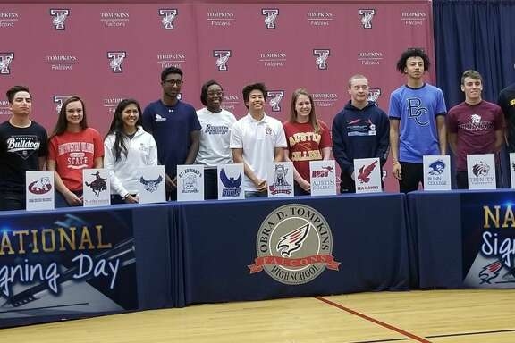 Tompkins high school students made their commitments to continue their college careers. Pictured, from left to right are: Zach Visser-Baseball; Southwestern Christian University;  Wilson Ehrhardt-Baseball, Hill Jr. College; Jorge Vargas-Baseball, Dean College; Dani Dagley-Volleyball, Northwestern Oklahoma State University; Kailyn O'Neal-Volleyball, Southern Connecticut State University; Anish Sriniketh-Tennis, St. Edwards University; Alyssa Balandran-Track, Rice University; Jacob Won-Swim, University of South Dakota; Jade Kemp-Swim, Austin College; Reilly Swain-Swim, Memorial University of Newfoundland; Dan D'Rovencourt-Pole Vault, Trinity University; Emmanuel White-Basketball, Blinn College; CJ Washington-Basketball, Kennesaw State University; Ana Lucia Garza-Dive, University of the Incarnate Word; Duben Nwachukwu-Track, Texas A&M Corpus Christi.