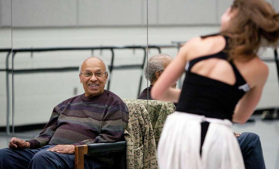 Choreographer Donald McKayle watches a dancer rehearse in a studio at UC Irvine, where he served as a professor of dance for almost 30 years. Photo: Michelle S. Kim / UC Irvine 2012