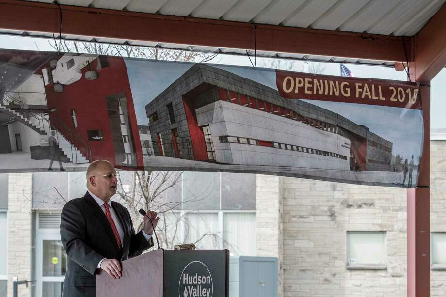 Dr. Andrew Matonak, president, speaks at the groundbreaking ceremony for the Gene F. Haas Center for Advanced Manufacturing Skills building at the Hudson Valley Community College Wednesday April 11, 2018  in Troy, N.Y. (Skip Dickstein/Times Union) Photo: SKIP DICKSTEIN / 20043462A