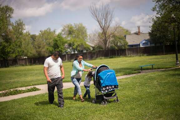 The Cruz family leaves a local playground on Saturday, April 7, 2018 in Sacramento, CA.  Mr. Cruz suffered shoulder and neck pain after being violently grabbed by ICE agents in Sacramento in September as the agents tried to force him to sign documents.  He was then denied medical treatment while in custody at West County Detention Facility in Richmond, the only jail that houses ICE detainees in the Bay Area.