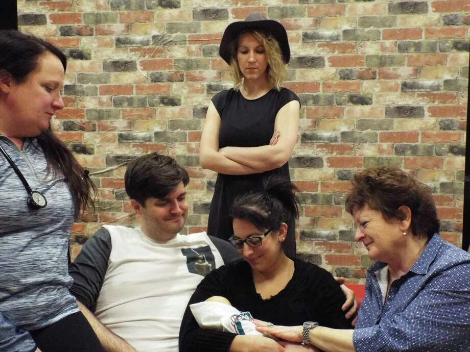 "Actors in a scene from ""Mine."" From left, Emer Geraghty, Isaac Newberry, Meigg Jupin, Brigitta Giulianelli, and Kathleen Reilly. (Provided)"