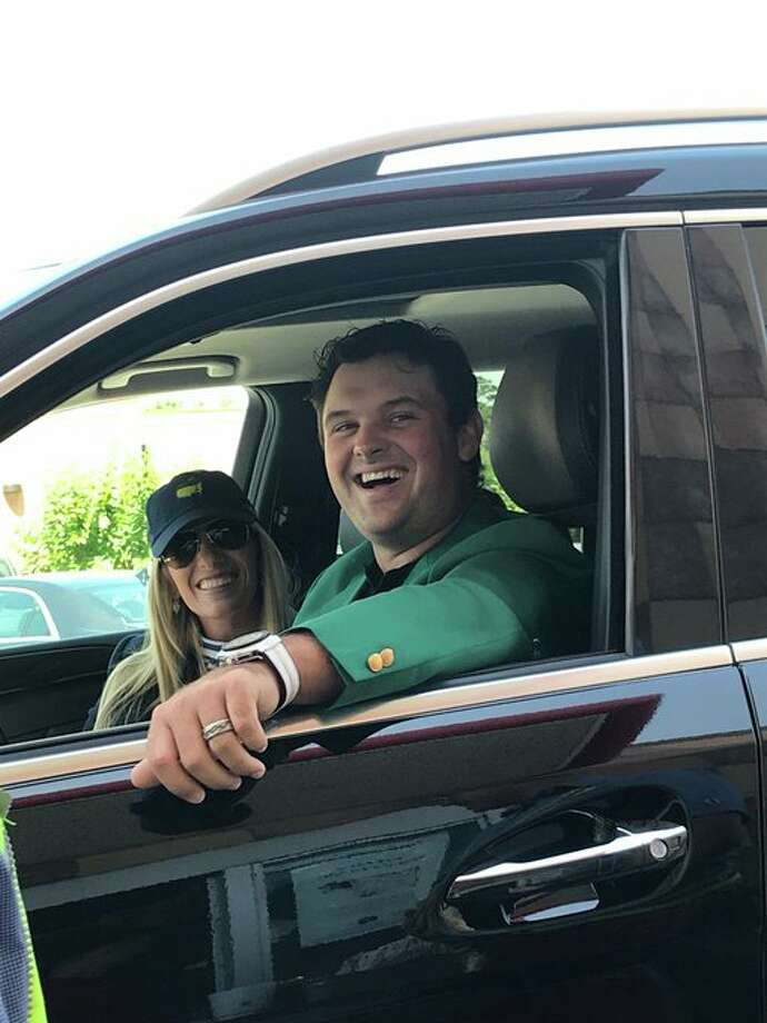 Patrick Reed, fresh off his win at the 2018 Masters, was spotted wearing his green jacket with his wife, Justine, at a Chick-fil-A in The Woodlands. Browse through the photos for more of Patrick and his green jacket. Photo: CFA The Woodlands