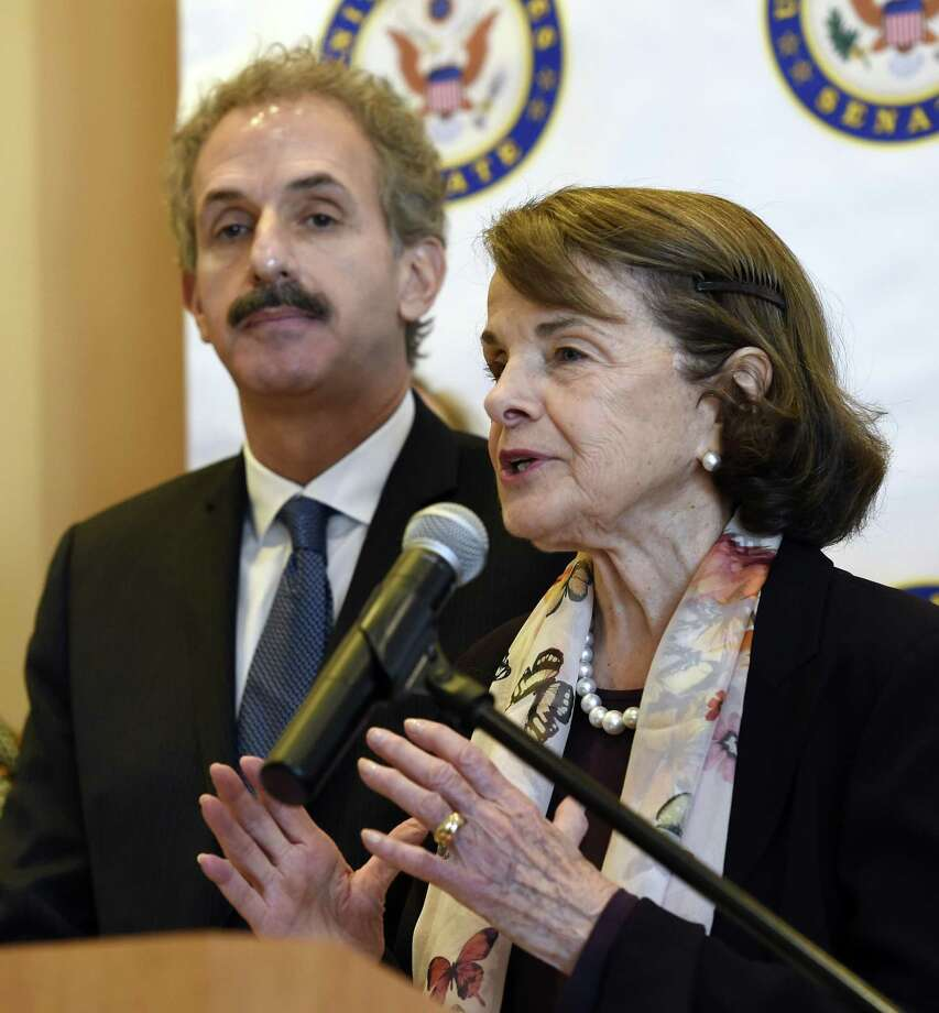 One indication that the left is also eschewing moderation, the California Democratic Party has refused to endorse California Sen. Dianne Feinstein, shown here March 27 at a Los Angeles press conference, right, for reelection, though she is, by any measure, a liberal. Photo: Chris Pizzello /Associated Press / Invision