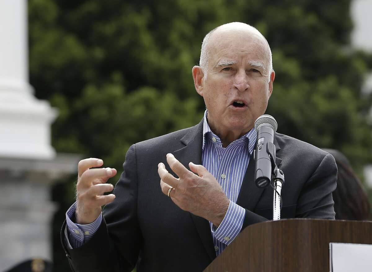 Gov. Jerry Brown addresses the crowd at a victims right rally Monday in Sacramento.Brown endorsed Democratic state Sen. Ricardo Lara for state insurance commissioner.