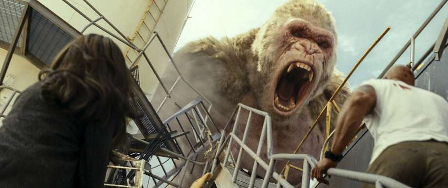 "Genetically modified monsters wreak terror in ""Rampage."" Photo: Warner Bros."