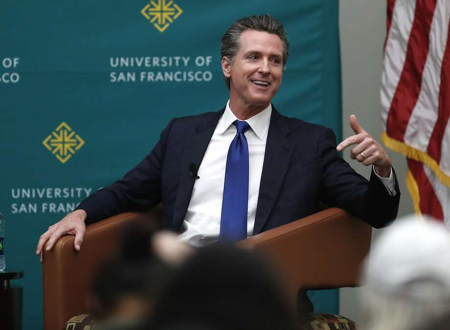 California Lt. Governor and Gubernatorial candidate Gavin Newsom is interviewed by Politco's Carla Marinucci at University of San Francisco in San Francisco, Calif., on Monday, February 5, 2018. Photo: Scott Strazzante / The Chronicle