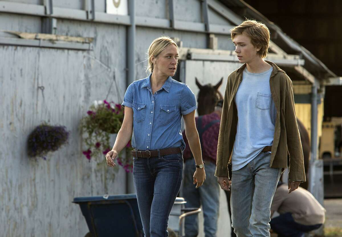 This image released by A24 films shows Chloe Sevigny, left, and Charlie Plummer in a scene from the film,