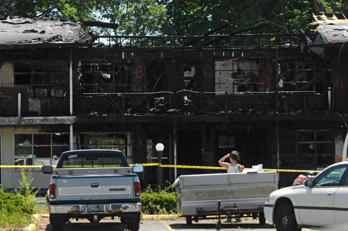 A view of the aftermath of a fire at the Governors Inn and Suites on Route 20 in Guilderland on Monday. (Paul Buckowski / Times Union)