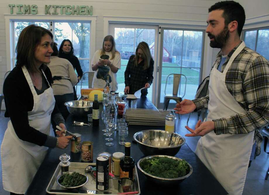 Hearst Connecticut reporter Justin Papp takes a cooking class at Wakeman Town Farm in Westport. Photo: Sophie Vaughan / Hearst Connecticut Media / Darien News