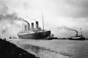 The RMS Titanic leaves Belfast for sea trials. Built in the Belfast shipyards of Harland and Wolff, the luxury liner was said to be unsinkable.