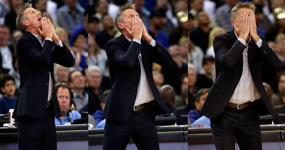 During this unexpectedly turbulent season, Golden State Warriors head coach Steve Kerr has experienced a full range of emotions— sometimes in the same game. Photo: Santiago Mejia / The Chronicle
