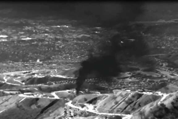This infrared image released by the Environmental Defense Fund (EDF) shows methane gas leaking from the Aliso Canyon facility near the Porter Ranch suburb of Los Angeles.