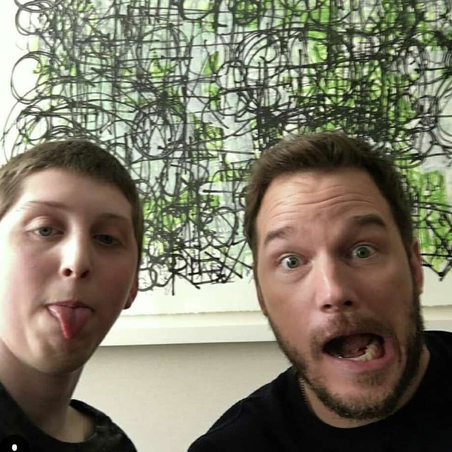 Jacob Monday, a Shenendehowa tenth grader, is battling terminal osteosarcoma. He's created a bucket list and his friends -- as well as people in the community -- are raising funds to help him complete each item. One of those wishes was to meet actor Chris Pratt, which he recently did. Photo: Provided