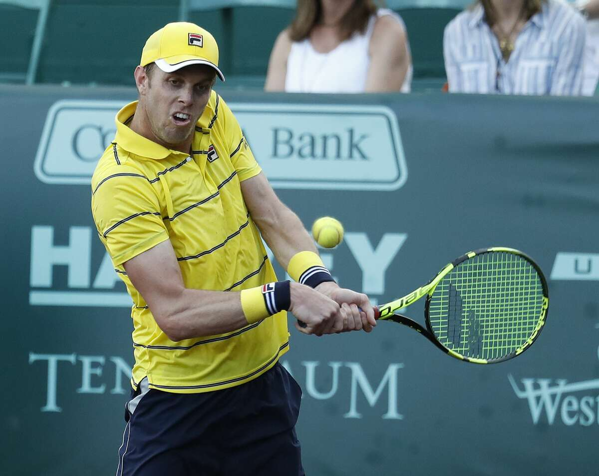 Sam Querrey plays against Guido Pella in the third set during the U.S. Men's Clay Court Championship at River Oaks Country Club, Wednesday, April 11, 2018, in Houston. ( Karen Warren / Houston Chronicle )