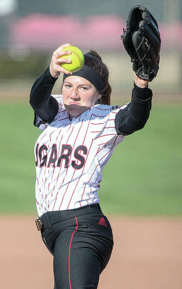 SIUE's Emily Ingles, shown in action earlier this year, got the win in relief against Bradley on Wednesday in Peoria. Photo:       SIUE Athletics