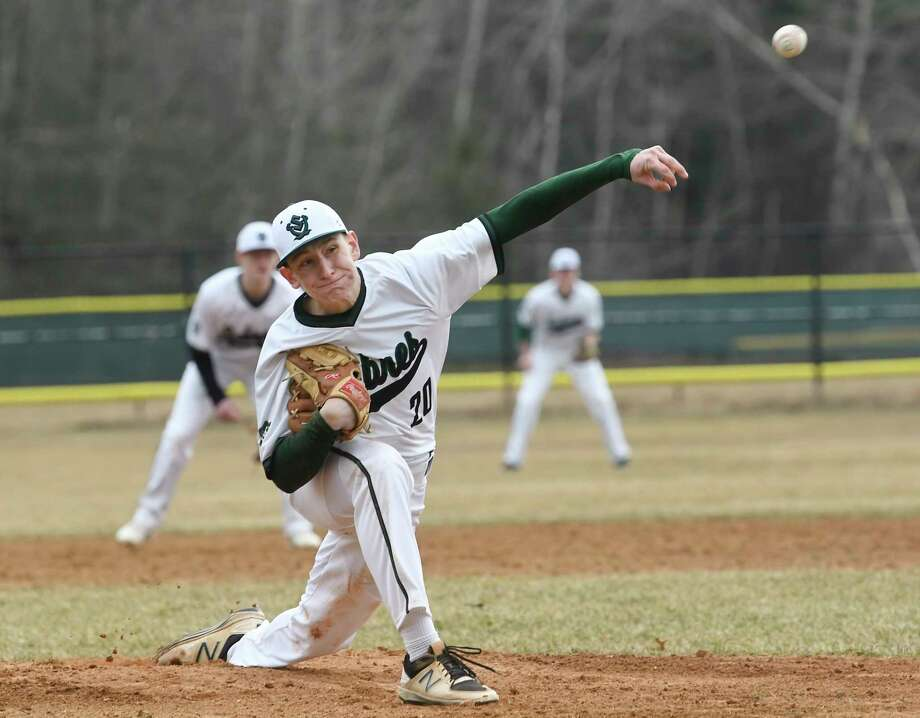 Schalmont's Christian Caputo (20) pitches against Voorheesville during a Section II high school baseball game Wednesday, April 11, 2017, in Rotterdam, N.Y. (Hans Pennink / Special to the Times Union) Photo: Hans Pennink / Hans Pennink