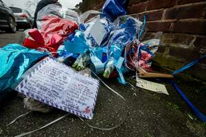 LONDON, UNITED KINGDOM - APRIL 10: Two women are pictured bringing flowers to the makeshift shrine to Vincent opposite Mr Osborn-Brooks' home on April 10, 2018 in London, England.  Pensioner Richard Osborn-Brooks has been released without charge after he confronted a pair of burglars at his home in South East London, killing one of them.  PHOTOGRAPH BY Brais G. Rouco / Barcroft Images (Photo credit should read Brais G. Rouco / Barcroft Images / Barcroft Media via Getty Images)
