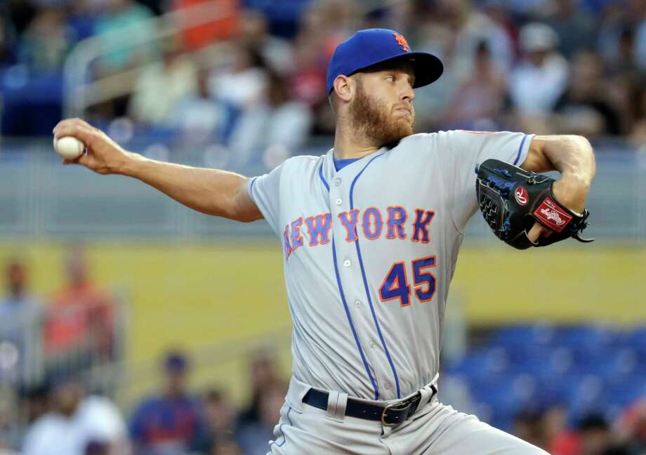 New York Mets starting pitcher Zack Wheeler throws during the first inning of a baseball game against the Miami Marlins, Wednesday, April 11, 2018, in Miami. (AP Photo/Lynne Sladky) Photo: Lynne Sladky / Copyright 2018 The Associated Press. All rights reserved.