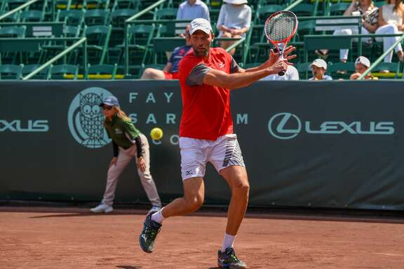 HOUSTON, TX - APRIL 11: Ivo Karlovic (CRO) returns a shot during his match against Denis Kudla (USA) during the 2018 US Men's Clay Court Tennis Championships on April 11, 2018 at River Oaks Country Club, Houston, Texas. (Photo by Ken Murray/Icon Sportswire via Getty Images)