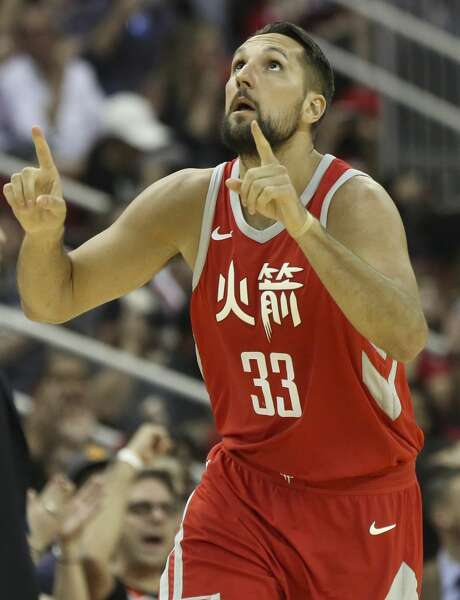 Houston Rockets forward Ryan Anderson (33) celebrates his three-pointer during the third quarter of the NBA game against the Minnesota Timberwolves at Toyota Center on Friday, Feb. 23, 2018, in Houston. The Houston Rockets defeated the Minnesota Timberwolves 120-102. ( Yi-Chin Lee / Houston Chronicle ) Photo: YCL/Houston Chronicle