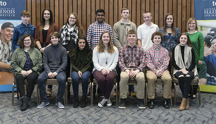 Members of Jacksonville High School's World Youth in Science and Engineering varsity team pose after their sectional competition. Team members (in alphabetical order) are Rachel Anderson, Sam Brockschmidt, Sadi Ghimire, Mae Gibson, Nicholas Hester, Luke Hewitt, Hailey Meyer, Tej Patel, Jonah Pattie, Bethany Pohlman, Alexis Shanks, Christian Soltermann, Lauren Stidham and Fisher Thomas.