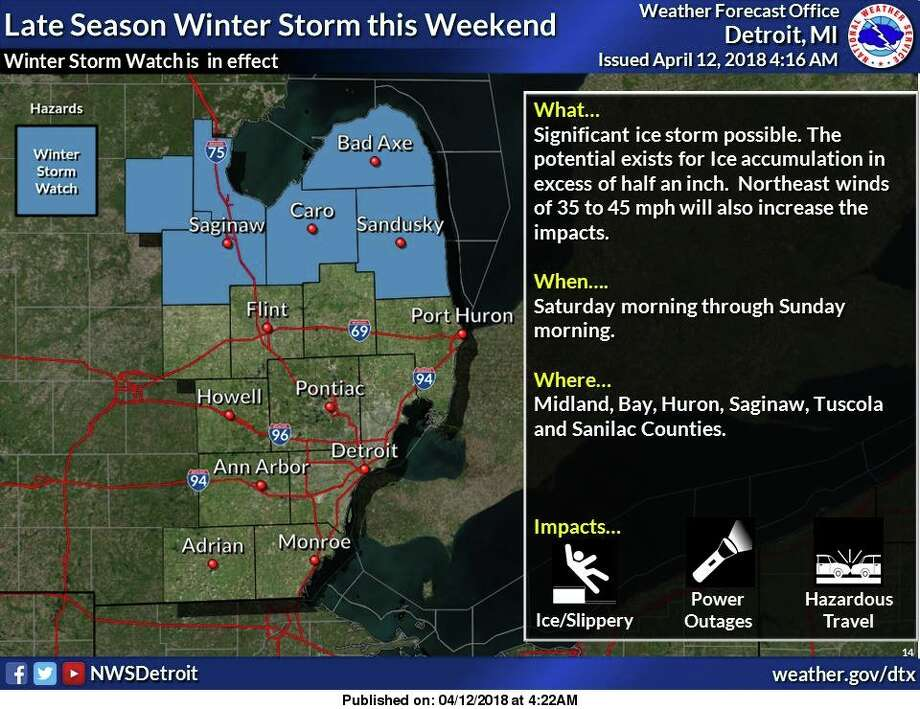 A Winter Storm Watch is in effect for portions of southeast Michigan along and north of M 46. A significant ice storm is possible Saturday morning through Sunday morning, with the potential existing for ice accumulation in excess of half an inch. Photo: National Weather Service Detroit