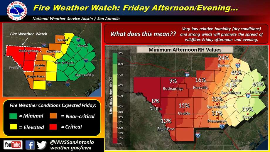 Severe thunderstorms, large hail and critical fire weather will possibly visit the San Antonio area Friday night as a strong storm system, dry line and cold front move through the area, according to the National Weather Service. Photo: National Weather Service