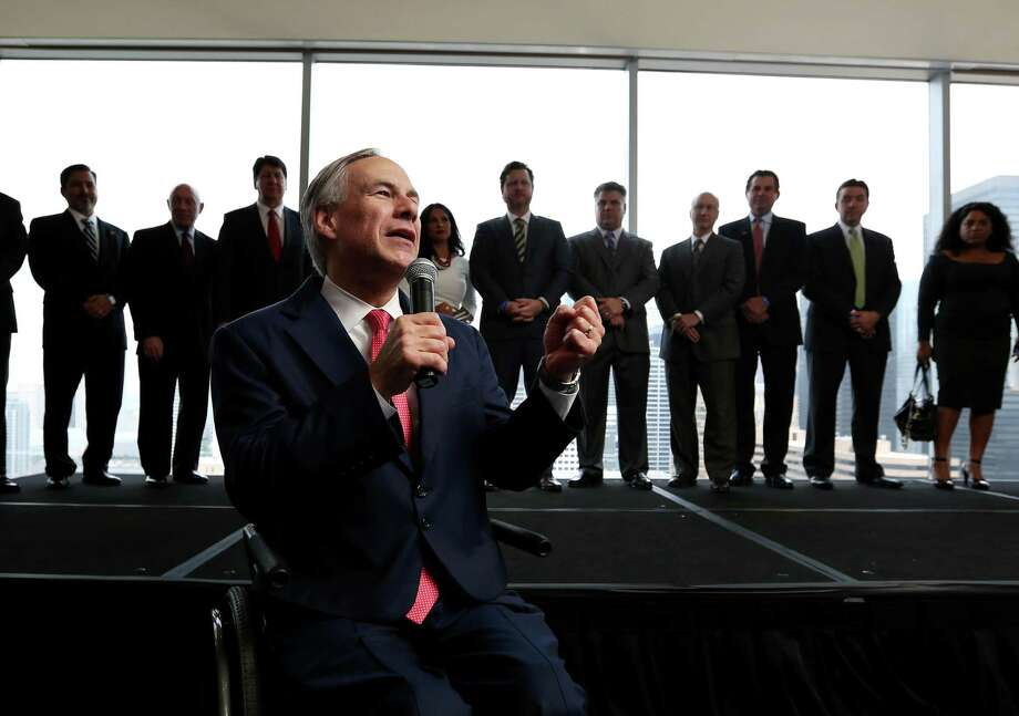 Gov. Gregg Abbott speaks at a VIP reception at the annual Houston Hispanic Chamber of Commerce Business Expo and Luncheon Thursday, April 9, 2015, in Houston. ( Jon Shapley / Houston Chronicle ) Photo: Jon Shapley, Staff / Houston Chronicle / © 2015 Houston Chronicle
