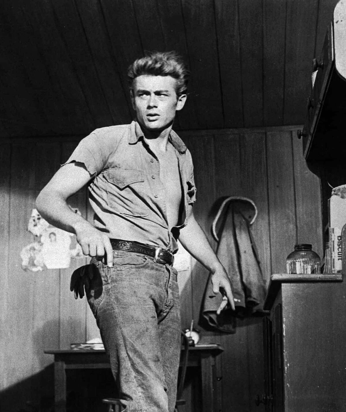 """Actor James Dean is shown here in a 1955 file photo, the year he filmed the movie, """"Giant,"""" for which he received a posthumous Oscar nomination."""