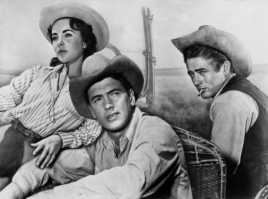 """Actors James Dean, Elizabeth Taylor and Rock Hudson pose for a composit photo on the set of the Warner Bros film """"Giant"""" in 1955 in Marfa, Texas. Photo: Michael Ochs Archives, Handout / Getty Images / Moviepix"""