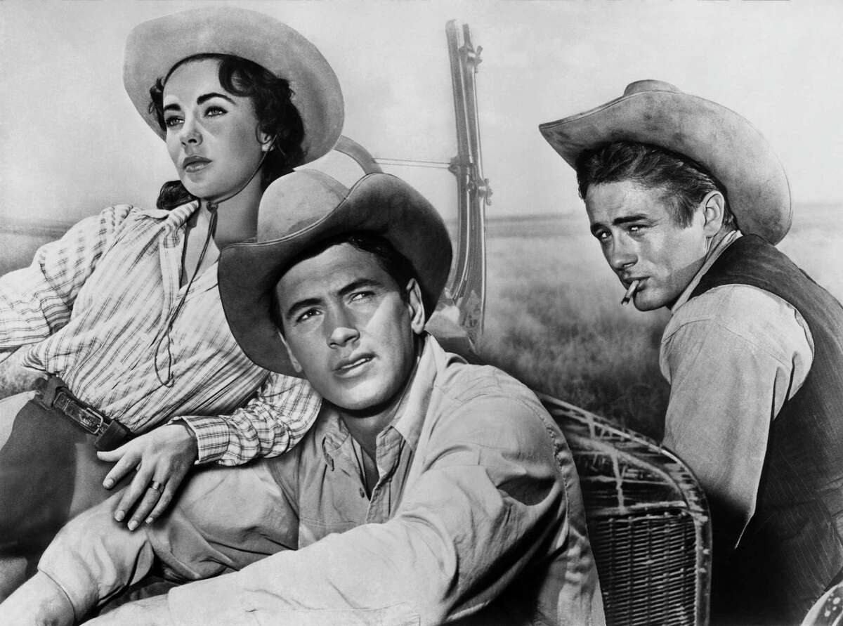 """Actors James Dean, Elizabeth Taylor and Rock Hudson pose for a composite photo on the set of the Warner Bros film """"Giant"""" in 1955 in Marfa, Texas."""