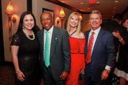 State Rep. Ana Hernandez, from left, Mayor Sylvester Turner, Karen Garcia and Roland Garcia at the Houston Arts Alliance dinner. Karen and Roland are honorary chairs for the event.
