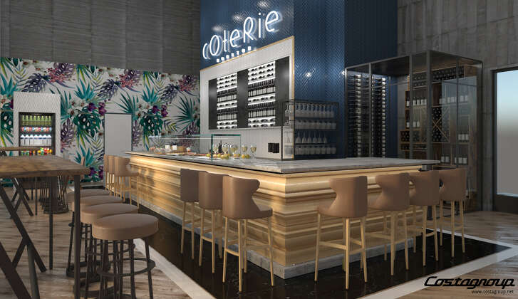 Coterie is a new restaurant set to open summer 2018 at Market Square Tower, 777 Preston, in downtown Houston. Shown: A rendering of Coterie.