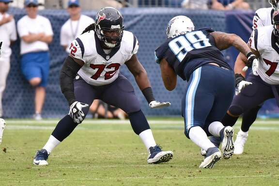 NASHVILLE, TN - DECEMBER 27:  Derek Newton #72 of the Houston Texans plays against the Tennessee Titans at Nissan Stadium on December 27, 2015 in Nashville, Tennessee.  (Photo by Frederick Breedon/Getty Images)