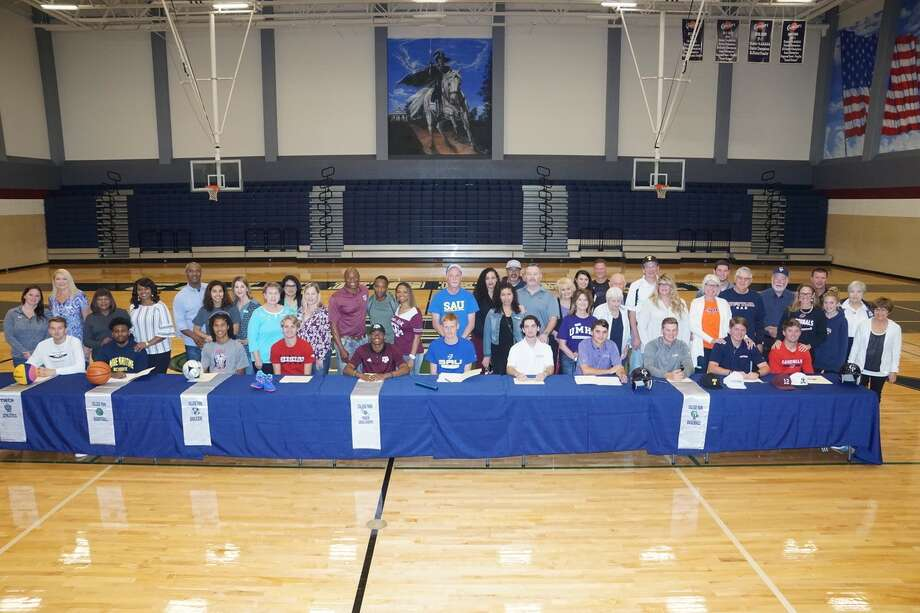 Eleven student-athletes celebrated their college signings on Wednesday morning at College Park High School. Photo: Photo By Ted Bell