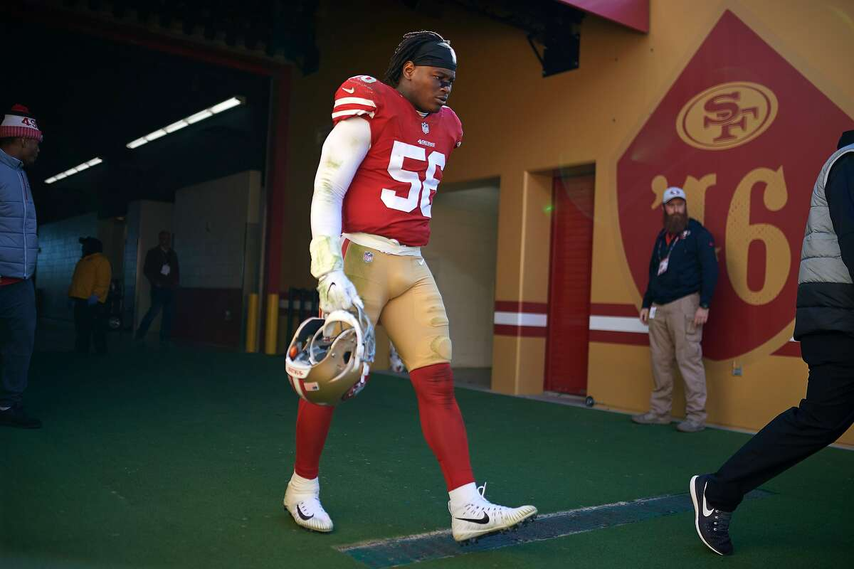 San Francisco 49ers outside linebacker Reuben Foster (56) walks onto the field during an NFL game between the Arizona Cardinals and the San Francisco 49ers on Nov. 5, 2017 at Levi's Stadium in Santa Clara, CA.