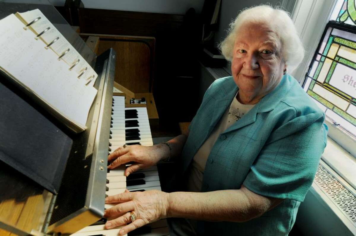 Margaret Hems, has been the volunteer organist and pianist at the Center Brunswick United Methodist Church in Center Brunswick for 50 years. (Luanne M. Ferris/Times Union)