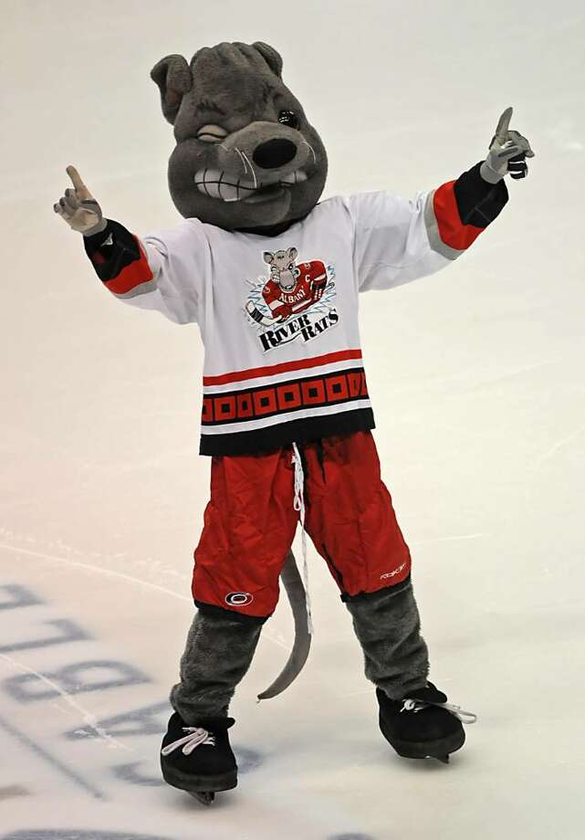 Rowdy, the River Rats mascot, gets the crowd going against Adirondack. Photo: LORI VAN BUREN