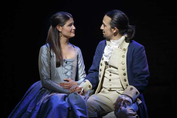 "Phillipa Soo and Lin-Manuel Miranda portray Eliza and Alexander Hamilton in the play, ""Hamilton."""